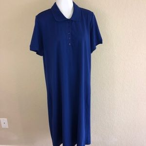 NEW Royal Blue Polo Shirt Midi Dress Size Large